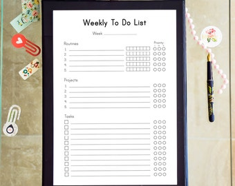 Weekly To Do List Printable Inserts A4 Binder Inserts Weekly Tasks Printable Planner PDF Week Organizer Inserts Week To Do Instant Download.