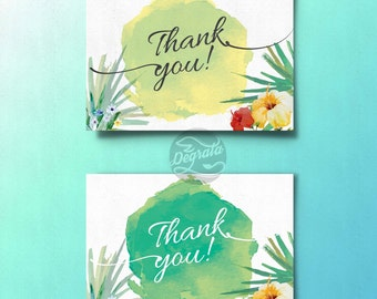 Printable Tropical Themed Watercolor Thank You Cards (INSTANT DOWNLOAD)