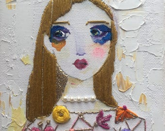 Hand Embroidery Art, Floral Needlepoint, Portrait Embroidery, Mixed Media Canvas, Portrait Oil Painting, Canvas Embroidery