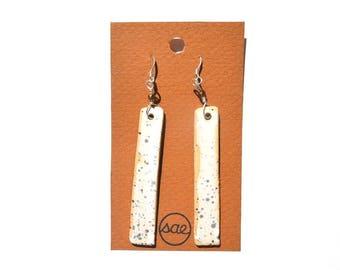 speckled long ceramic earrings