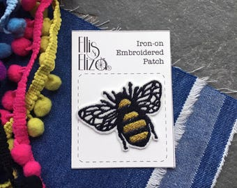 Metallic Gold Bumble Bee Embroidered Patch - Sew On - iron on - Wool Felt - patch game - festival - save the bees - manchester bee -
