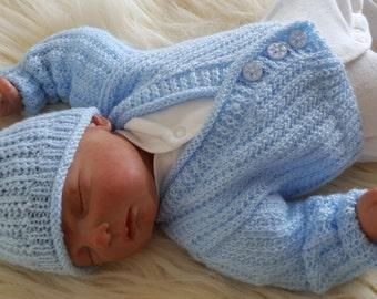 Baby Knitting Pattern Boys or Reborn Dolls - Sweater Set -  Instant Download PDF - Cardigan & Hat - Easy Knit Design
