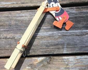 Vintage Mickey Mouse ladder toy, spinning Mickey, antique Mickey Mouse, 1930s, wood, REDUCED