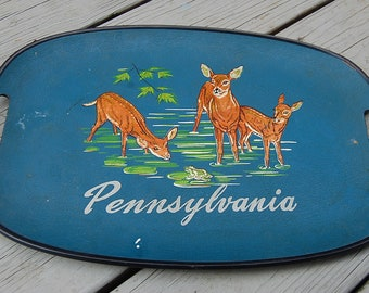Vintage 50s Pennsylvania State Souvenir Deer Bamboo Handled Serving Tray Cabin Cottage Kitsch Americana Rustic