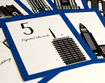 Los Angeles Table Number Wedding Decor Sign Custom Icons Landmarks Silhouette City California