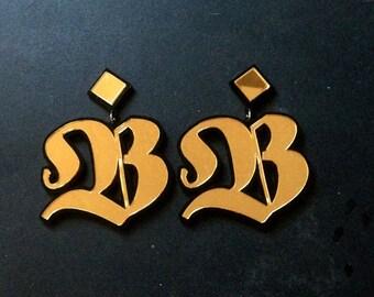 Large Custom Letter Stud Earrings Old English Font (Laser Cut Acrylic)