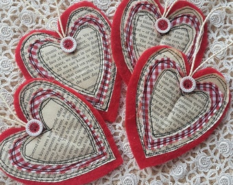 Handmade Red Felt Stacked Heart Layer Tags Gift Labels Bookmark Embellishment Primitive Christmas Valentine