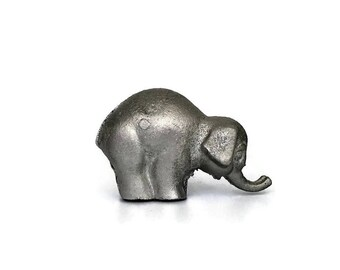 Vintage Silver Cast Iron Elephant Trunk Up // Baby Gift