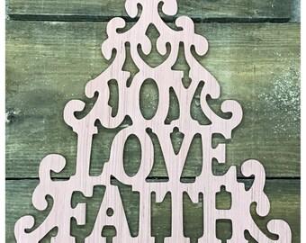 Joy, love, faith tree hanger