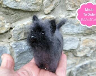 OOAK Needle felted miniature dog Black Cairn Terrier puppy pet portrait by BibiPauk