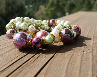 Pink, Green and Gold Layering Bracelets - Stretch stacking bracelets - beaded handcrafted jewelry - statement jewelry