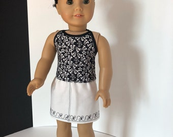Black & White Floral Halter Top for American Girl Doll