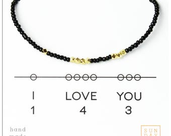 I Love You 143, Valentines Day, Bracelet - Black  Gift for Niece