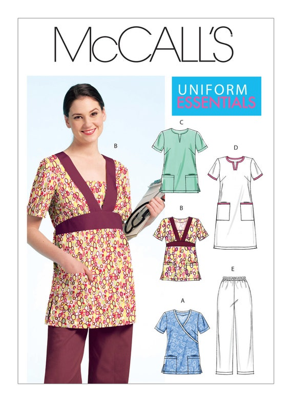 Sewing Pattern for Misses\'/Women\'s Scrubs Tops, Dress and Pants ...