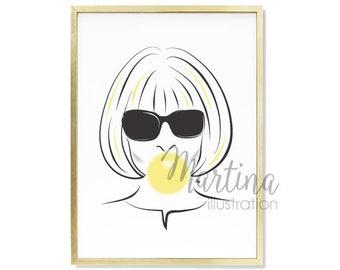 Vogue Anna Wintour bubble gum portrait Fashion Illustration Art Print gift for fashionista