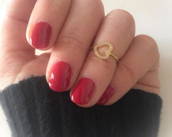 925 silver ring or ring little ring with zircon heart