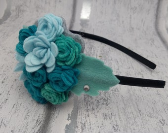 Turquoise Alice band, teal flower headband, girls floral hairband, teal, felt fascinator, felt roses, party hair, gifts for girls, ladies