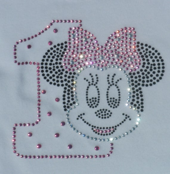 Minnie Mouse 1st Birthday Iron On Rhinestone Transfer In Pink
