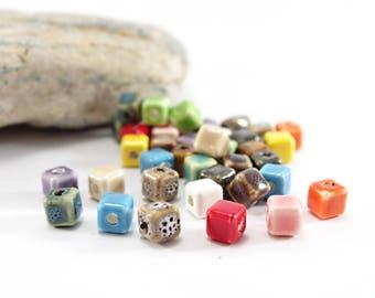 10 Cube - Sun shape ceramic beads. 8 x 8 mm - multicolor set