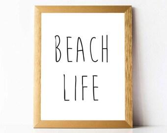 Beach Life Print PRINTABLE | Beach Life Wall Art | Printable Beach Quotes INSTANT DOWNLOAD | Beach Decor Wall Art Prints Ocean Beach Print