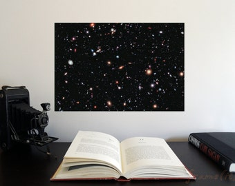 "The Hubble eXtreme Deep Field 19"" x 13"" Poster - Science Astronomy Wall Art - Window on the Universe series"