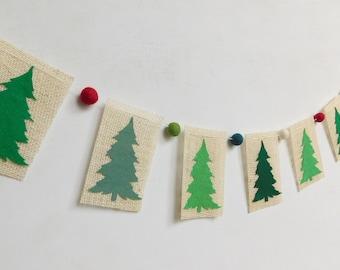 Wool Felt Balls and Christmas Trees Burlap Banner