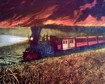 Prairie Fires in the Great West Train Print 1952 Currier & Ives Print 1800s Reprint to Frame 11 x 15