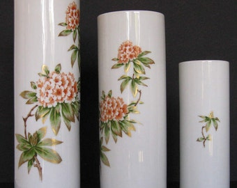 Vintage Franklin Porcelain Gilded Limited Edition Asian Inspired Bavarian Porcelain Graduated Vases
