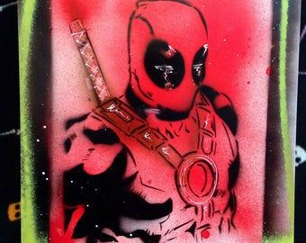 "Deadpool spray paint art-comicbook art-11x14"""