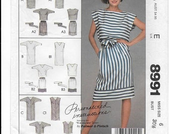 "A Straight, Pullover, Sleeveless or Dolman Sleeve Dress & Top, and Slim Skirt Sewing Pattern for Women: Size 6, Bust 30-1/2"" • McCall's 8991"