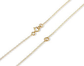"""14k Gold Plated Sterling Silver 1mm Cable Chain 12"""", 14"""", 16"""", 18"""", 20"""", 22"""", 24"""""""