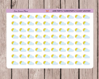 Partly Cloudy Partly Sunny Planner Stickers| KAWAII  Itty Bitty Weather Stickers |  L80-B