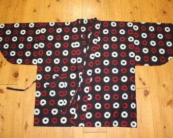 Vintage Japanese Indigo Cotton Kasuri Woven Short Kimono Peasant Noragi Hippari Boro