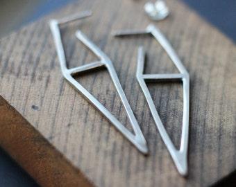 Double Triangle Hoop Sterling Earrings- Free Shipping, silver post earrings, sterling post earrings, dangle earrings