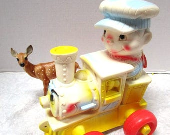 Vintage Edward Mobley Rubber Squeaky, Train Squeak Toy, Lil' Choo the Happy Engine Large, Arrow Rubber + Plastic Corp, Squeaky Toy Engineer