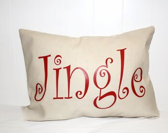 Decorative Lumbar 12x16 Jingle Pillow. Christmas Pillow, Holiday Pillow Cover