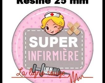 Round cabochon resin 25 mm - Super nurse stick (1955) - hospital, medical