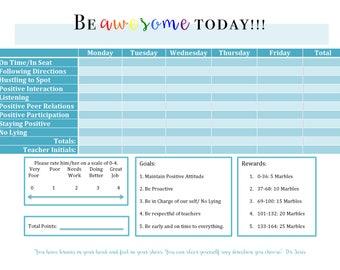 Kids Behavior Chart w/ Marble rewards