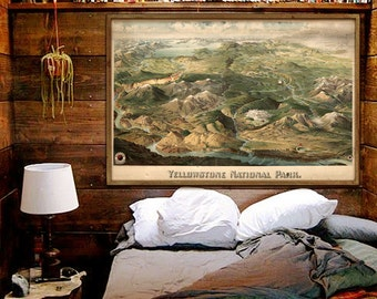 """Map of Yellowstone NP 1904, Vintage panoramic map of Yellowstone NP, 4 sizes up to 54x36"""" (140x90cm) also blue - Limited Edition of 100"""