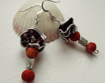 EARRINGS caps Brown & coral gift mothers day