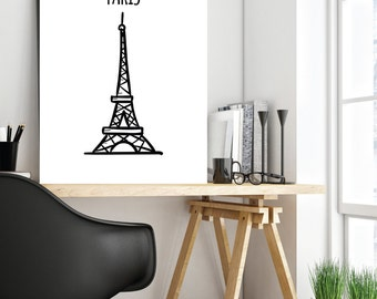 Eiffel Tower, Hand Drawn Eiffel Tower, Paris Art Print, Sketch Art, Gift, Minimalist Art, Wall Decor, Printable Wall Art, Instant Download