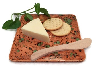 Ceramic Trivet and Cheese Platter in Caramel Brown and Green - Ready to Ship