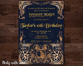 Fantastic Beast and Where to Find Them Invitation, Harry Potter, Birthday, Hogwarts, Gryffindor, Boys Girls, Custom, Kidsstom, Kids