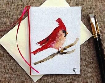Cardinal bird, Hand painted card, Hand made Christmas card, Cardinal art, Hand made card, Greeting card, Art, Oil painting on canvas