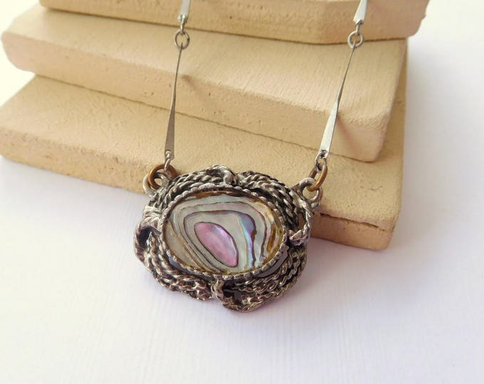 Featured listing image: Vintage Abalone Shell Silver Nautical Rope Design Pendant Choker Necklace BB50