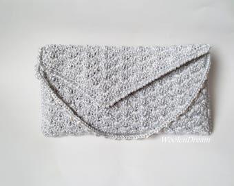 Wedding handbag,bridal bridesmaid purse, hand crochet clutch,romantic summer wedding,elegant evening envelope, special occasion,gift for Her