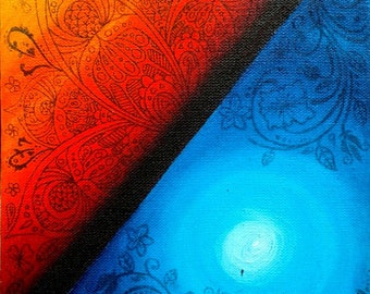 """Original Indonesian Psychedelic Surreal Art Acrylic Painting """"Day & Night"""" FREE SHIPPING"""