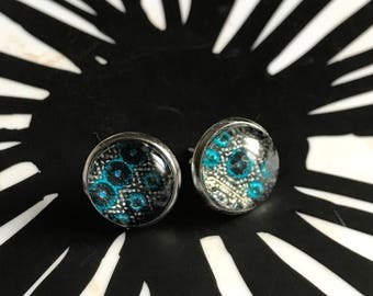 Turquoise and navy cabochon earrings- 12mm