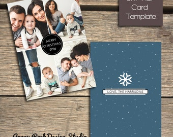 Modern Minimalist Badge Christmas Card - 5x7 Photoshop Template - INSTANT DOWNLOAD