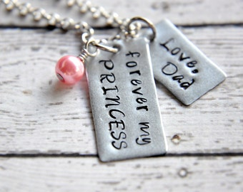 Necklace for daughter from father jewelry for daughter gift forever my princess necklace necklace for daughter hand stamped necklace father daughter necklace aloadofball Images